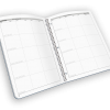Open spread spiral-bound grade book with weekdays.