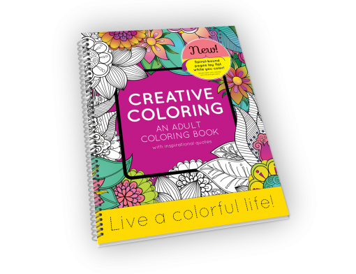Spiral-bound adult coloring book with flowers and leaves.