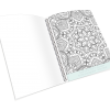 Open spiral-bound coloring journal with a geometric outline page.