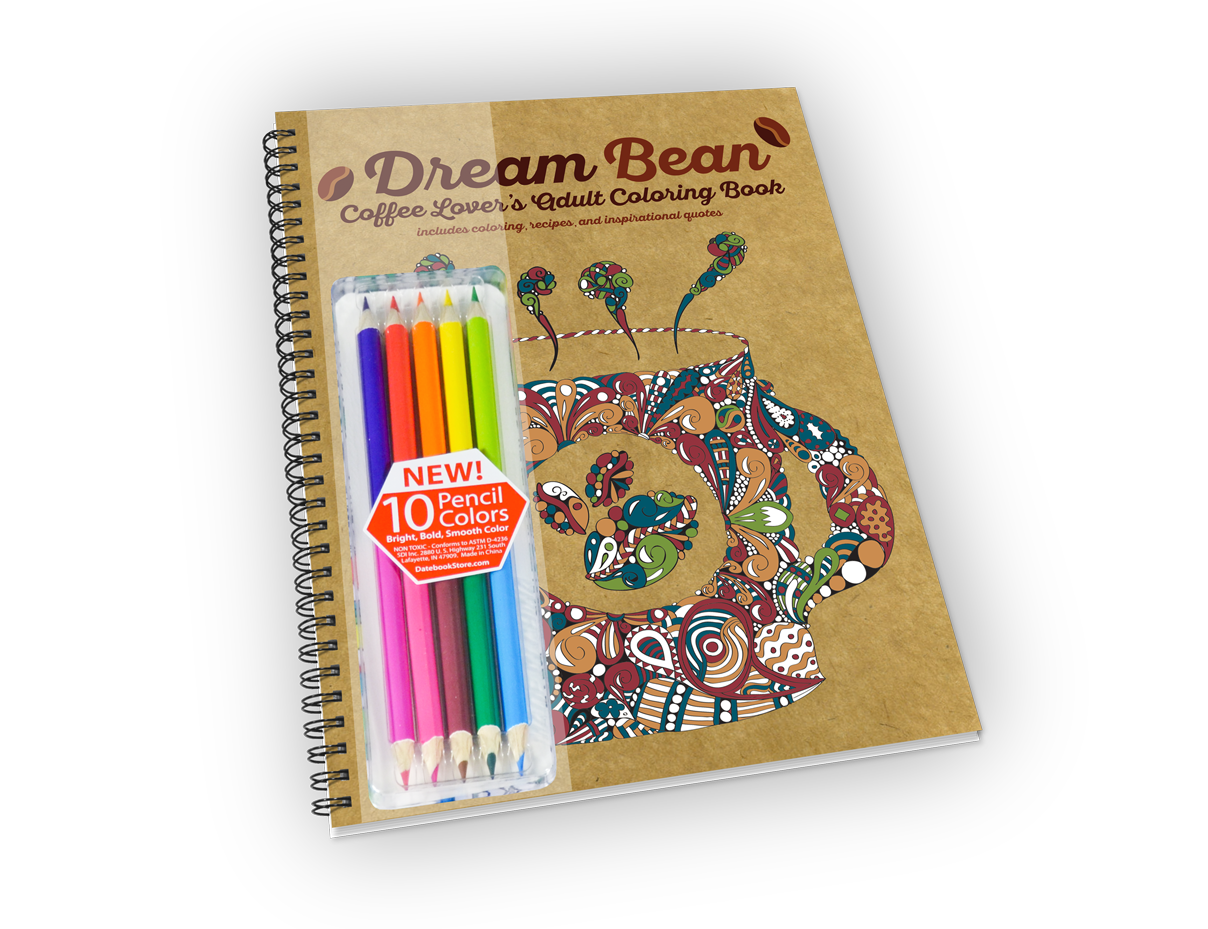 Spiral-bound coloring book with coffee theme and colored pencils.