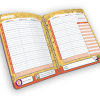 Open spiral-bound planner with days of week.
