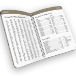 Open spiral-bound planner with reference page.