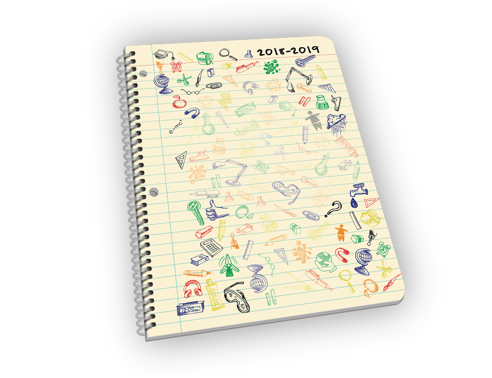 Spiral-bound planner with doodle cover.