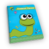 Open spiral-bound planner with earthworm cover.