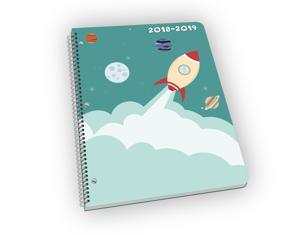 Spiral-bound planner with rocket and space cover.