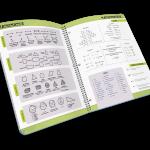 Open spiral-bound journal with STEM resources.