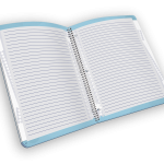 Open spiral-bound journal with lined pages.