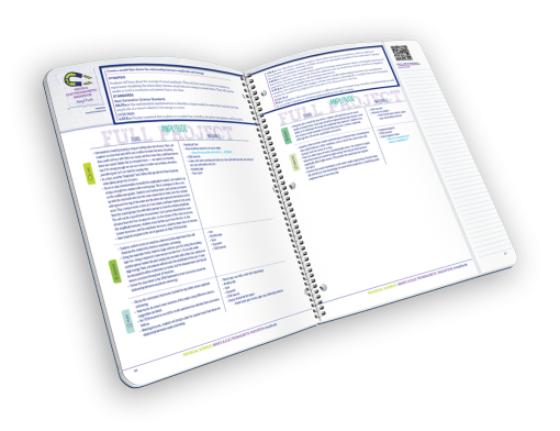 Open spiral-bound book of lesson plans.