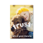 Education poster with the character quality trust.