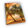 Spiral-bound planner with palm tree, sunset, and ocean cover.