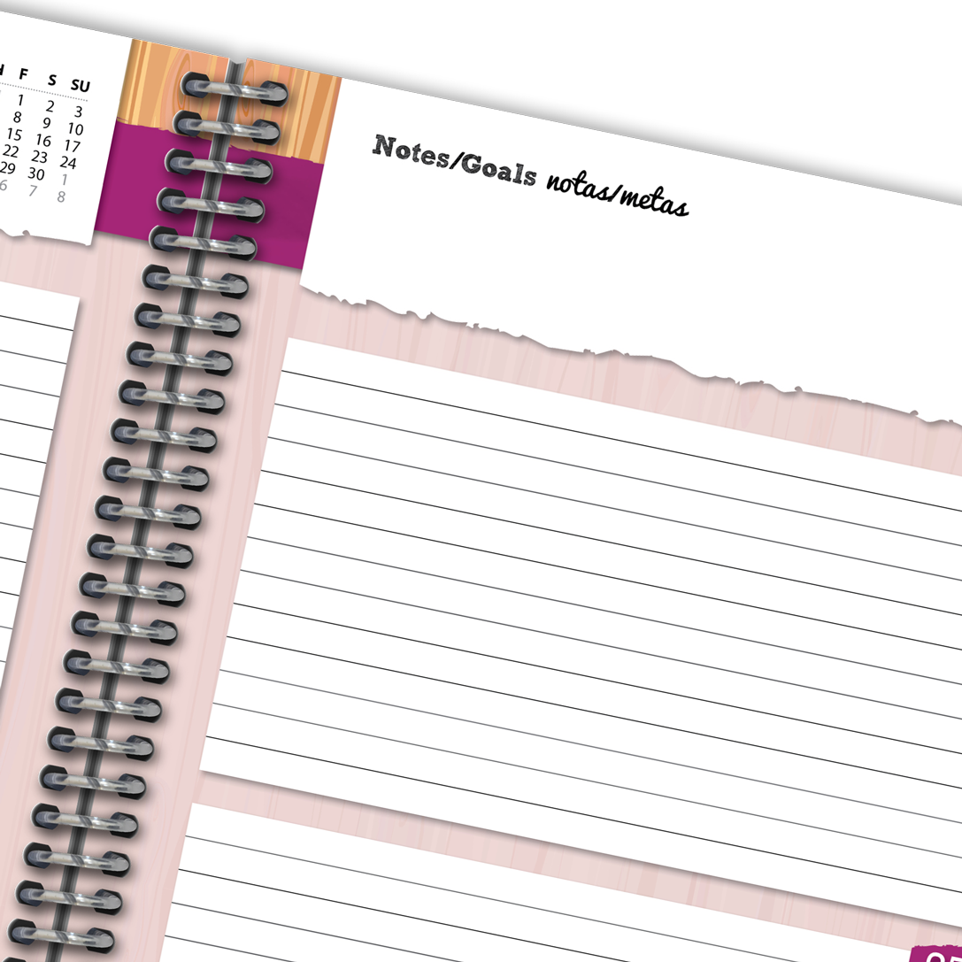 Close up of planner lined page with notes.