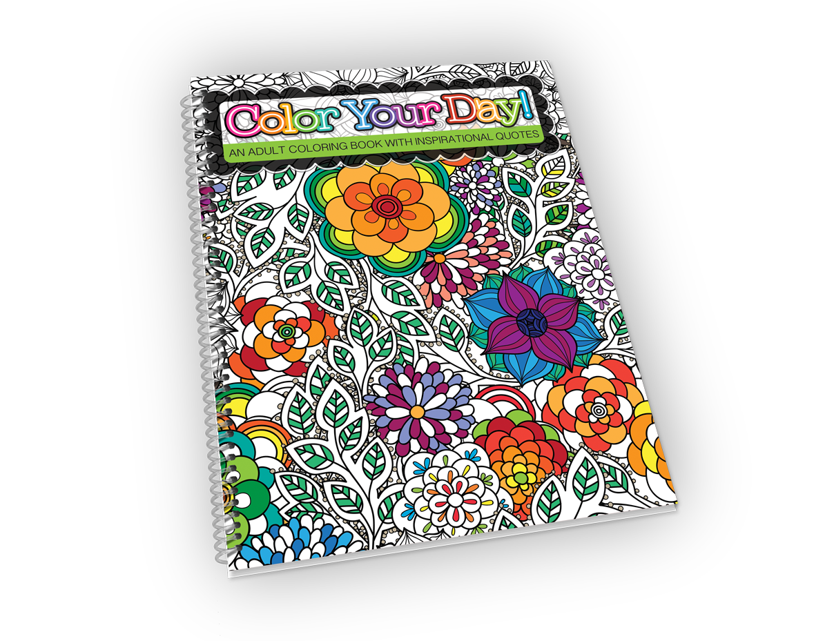 Spiral-bound adult coloring book with flower cover.