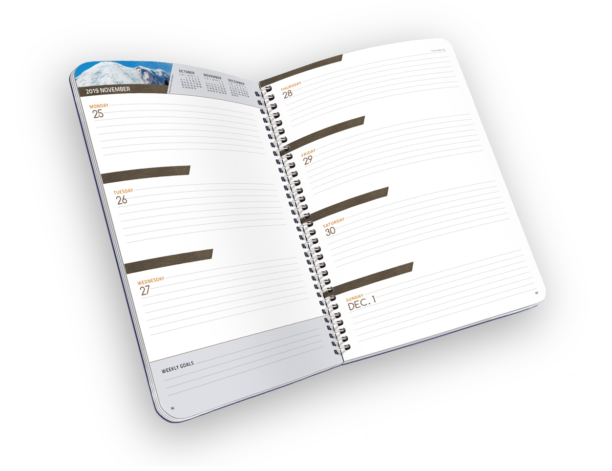 Open spiral-bound planner with lined days.