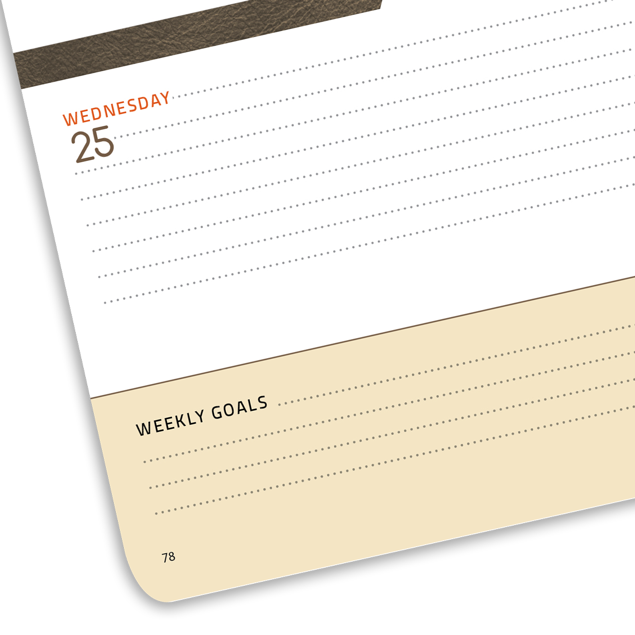 Close-up of planner lined page with date.