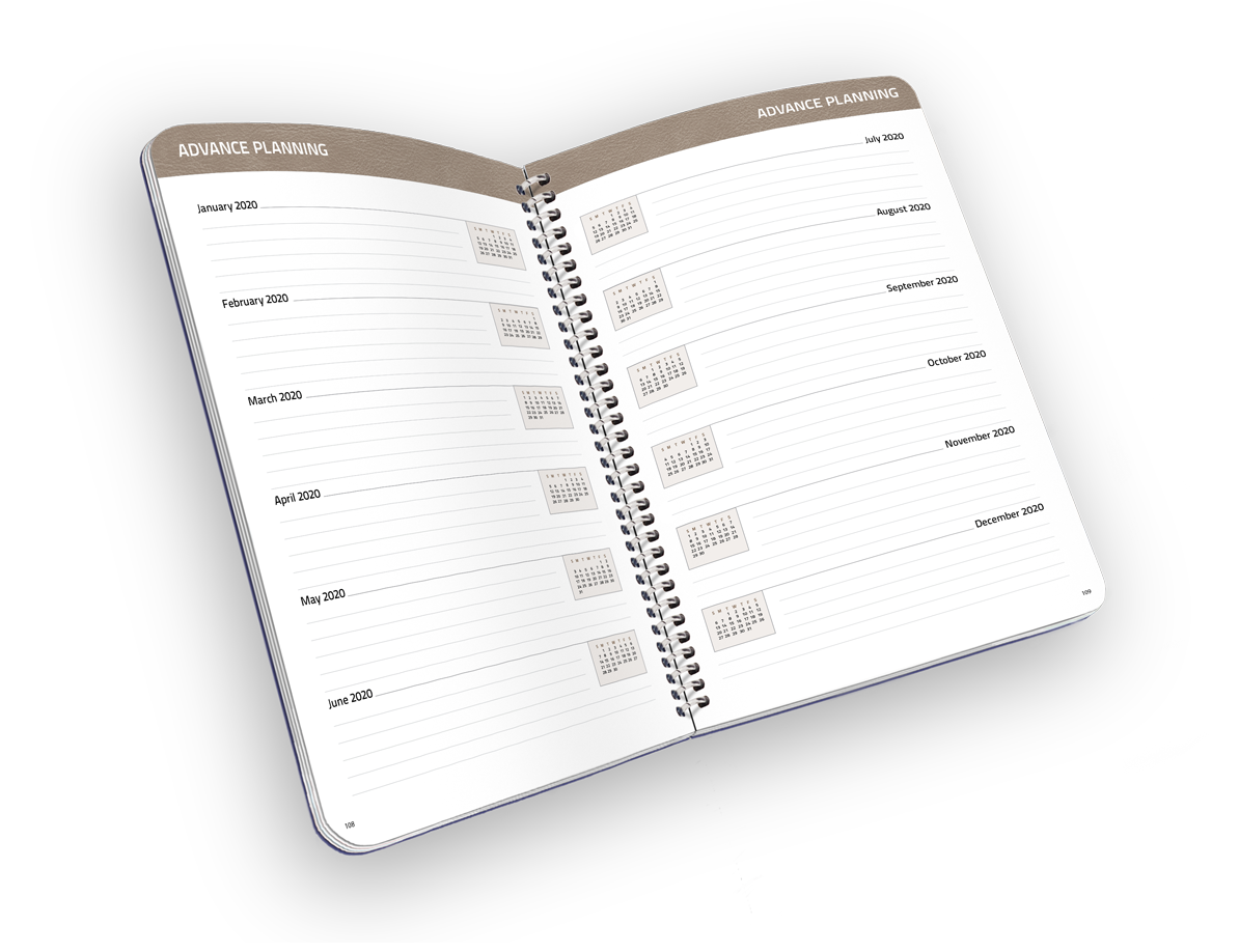 Open faced spiral-bound planner with month notes.