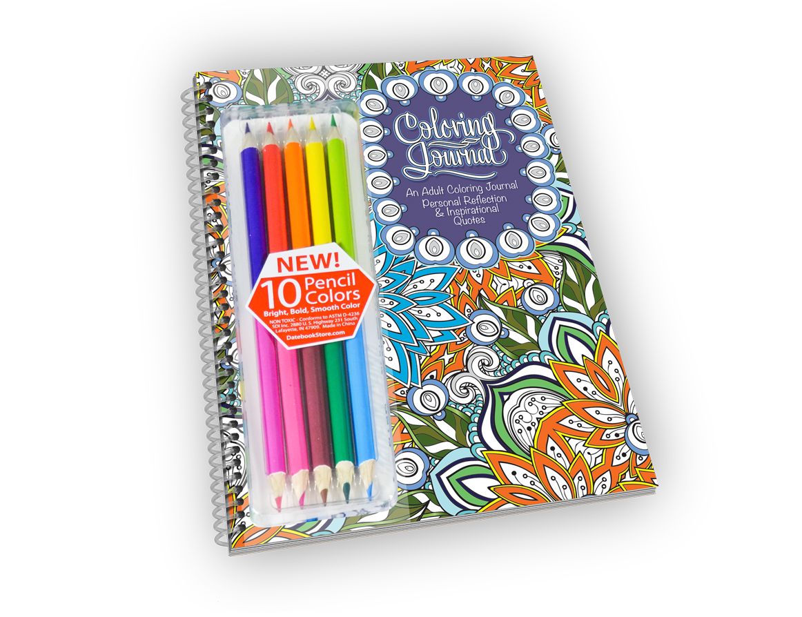 Spiral-bound coloring journal with flower cover and colored pencils.