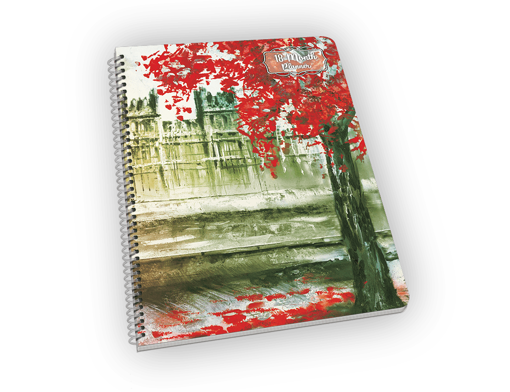 Spiral-bound notebook with Big Ben painting.