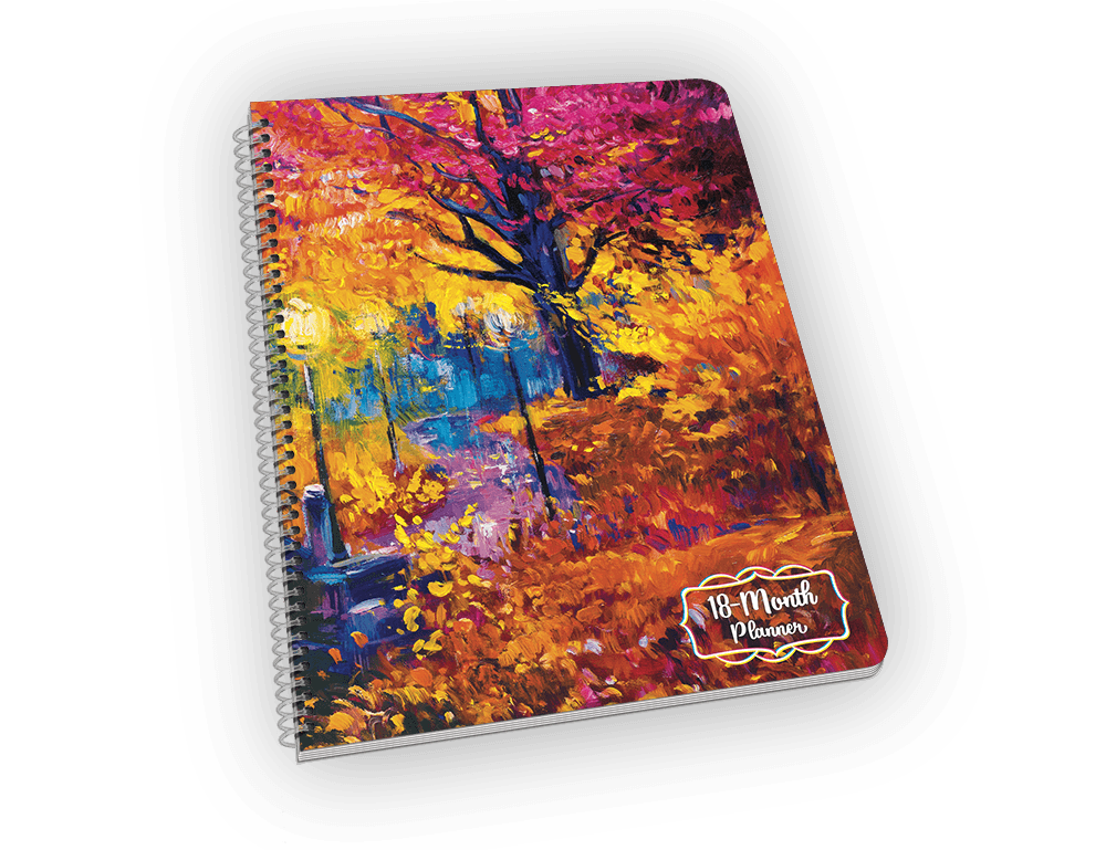 Spiral-bound notebook with autumn scene painting.