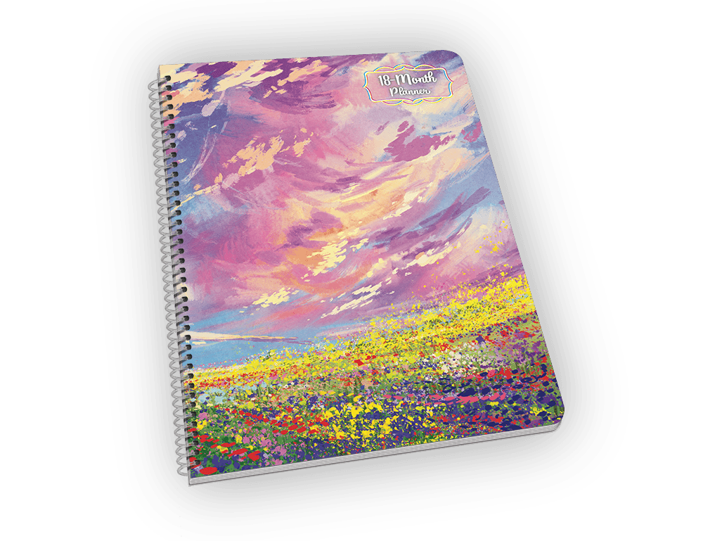 Spiral-bound notebook with flowers and sky painting.