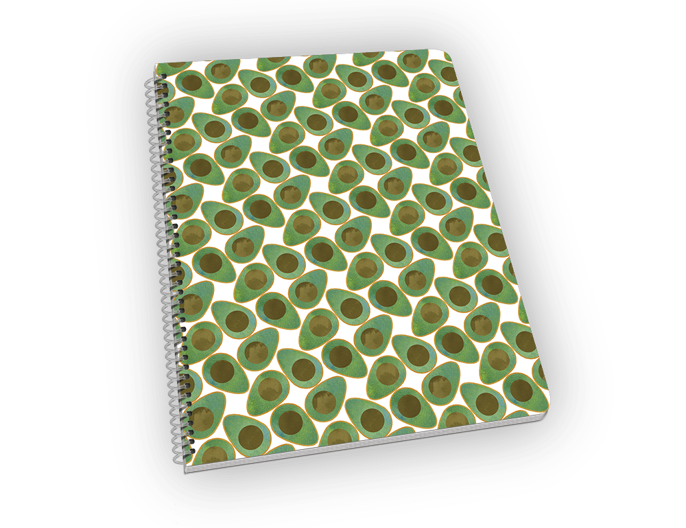 Spiral-bound notebook with avocado on the cover.