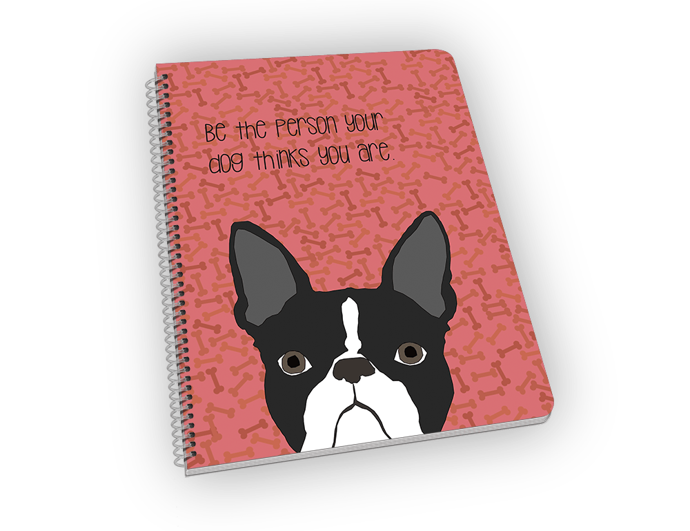 Spiral-bound notebook with boston terrior on the cover.