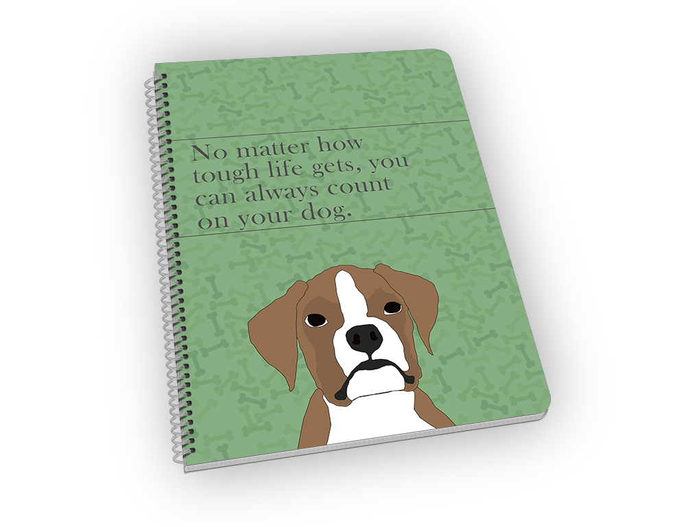 Spiral-bound notebook with boxer on the cover.