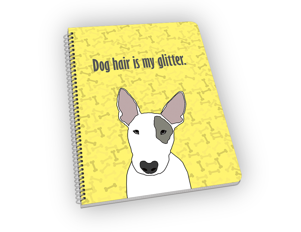 Spiral-bound notebook with bull terrior on the cover.
