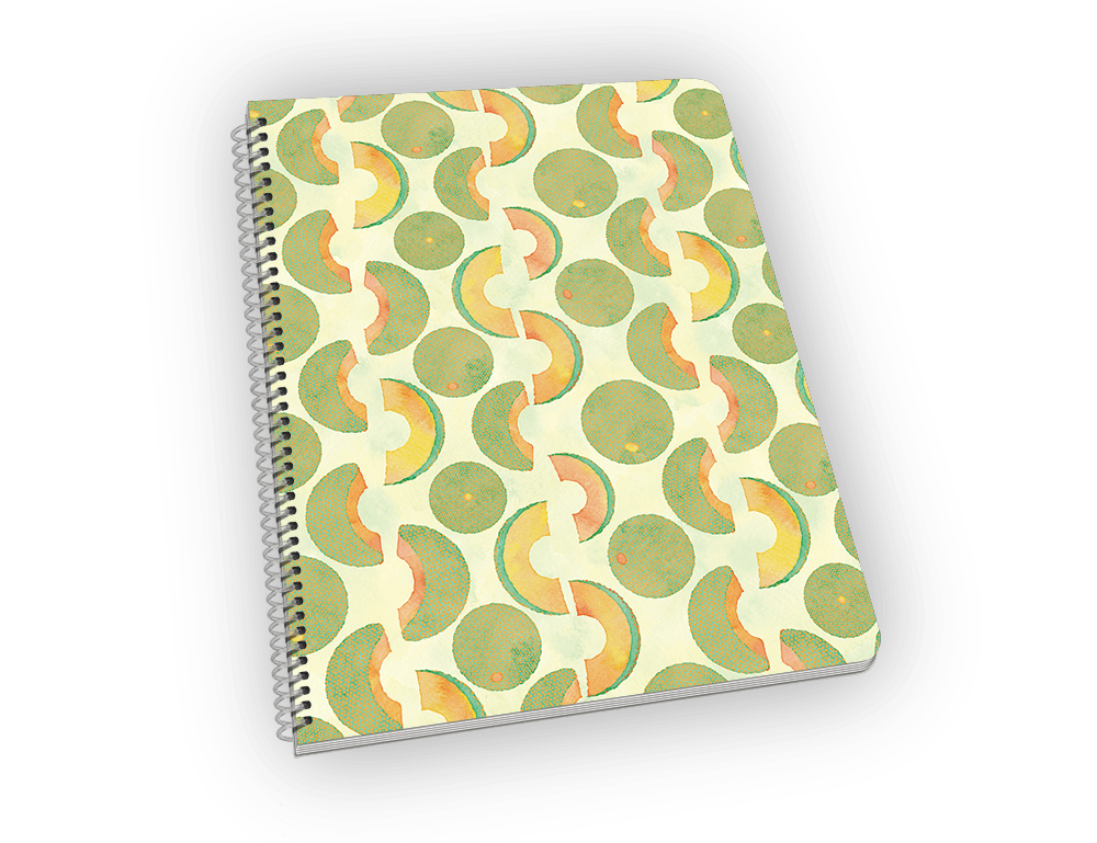 Spiral-bound notebook with cantaloupe on the cover.