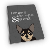 Spiral-bound notebook with chihuahua on the cover.