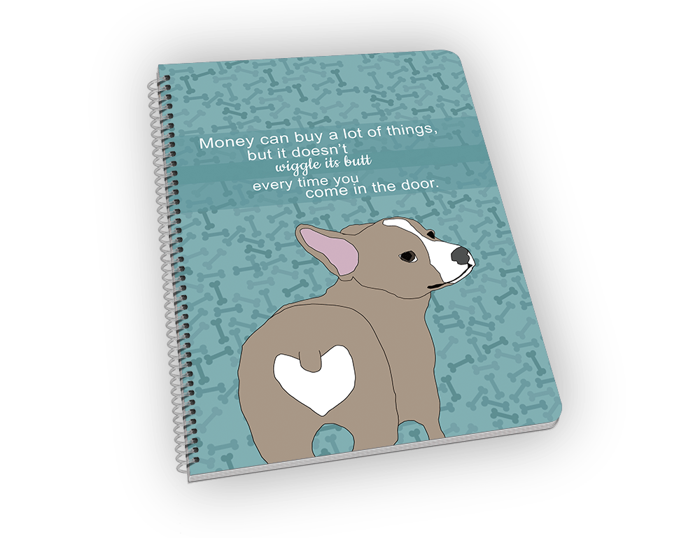 Spiral-bound notebook with corgi on the cover.
