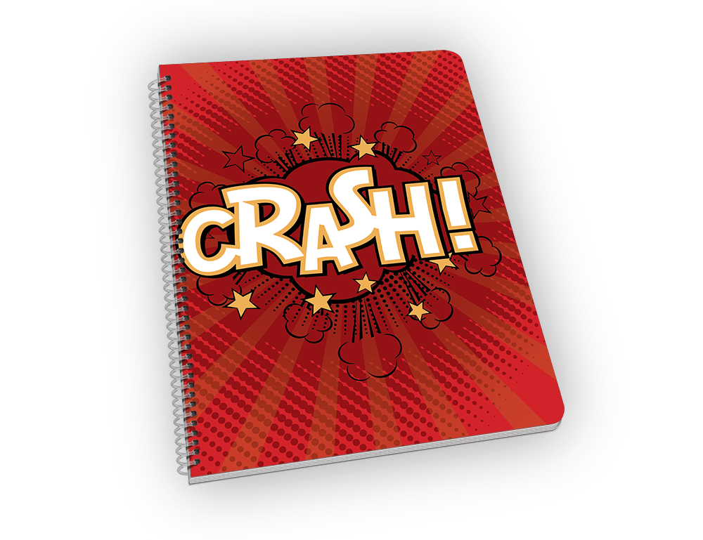 Spiral-bound notebook with CRASH on the cover.