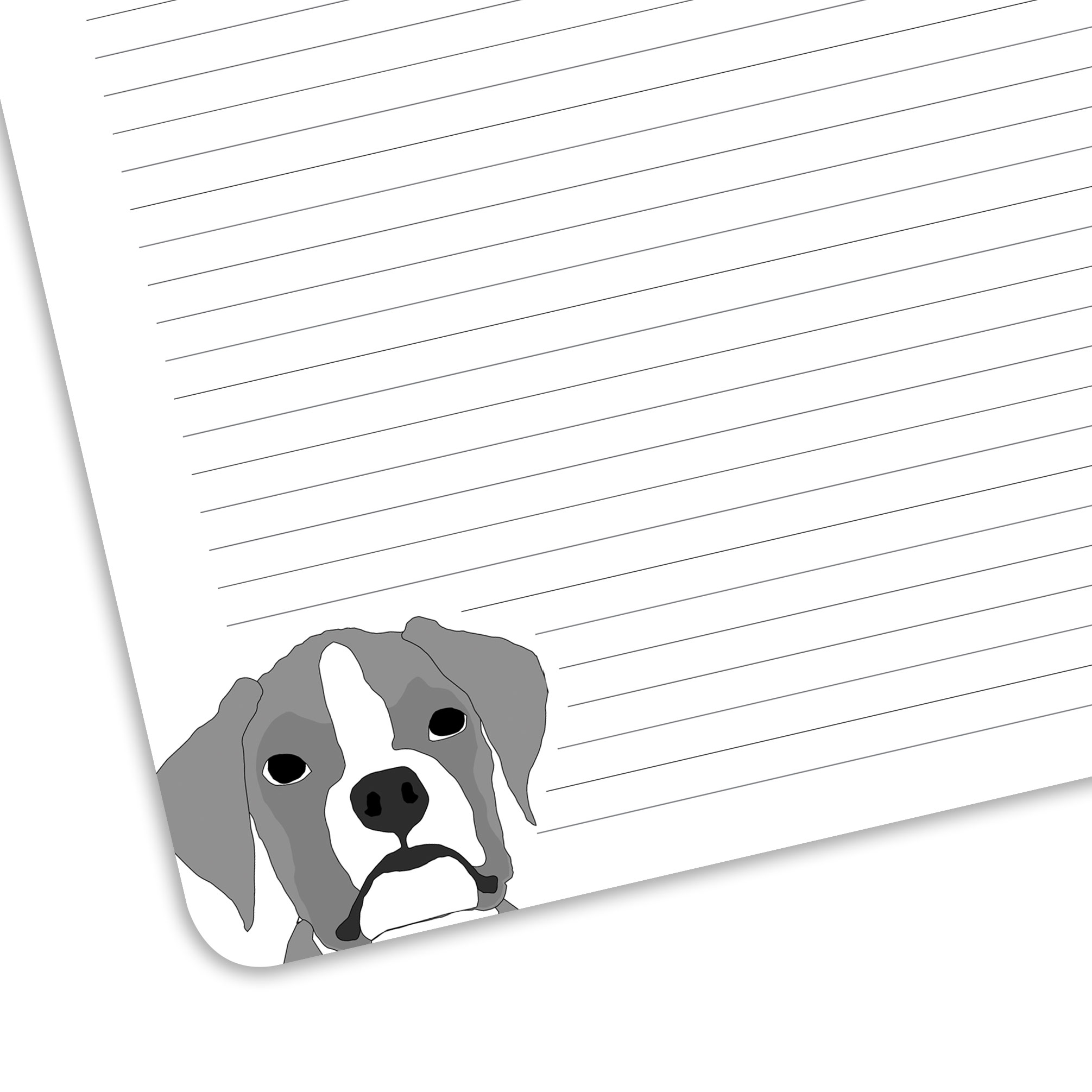 Close up of lined page and a boxer.