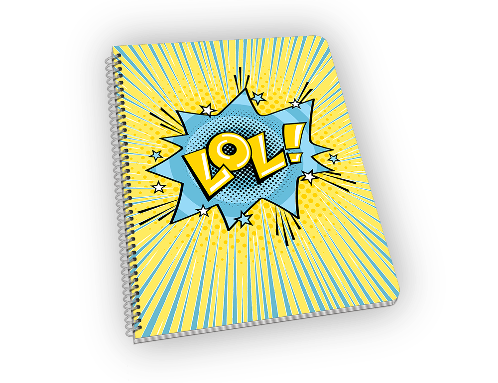 Spiral-bound notebook with LOL on the cover.