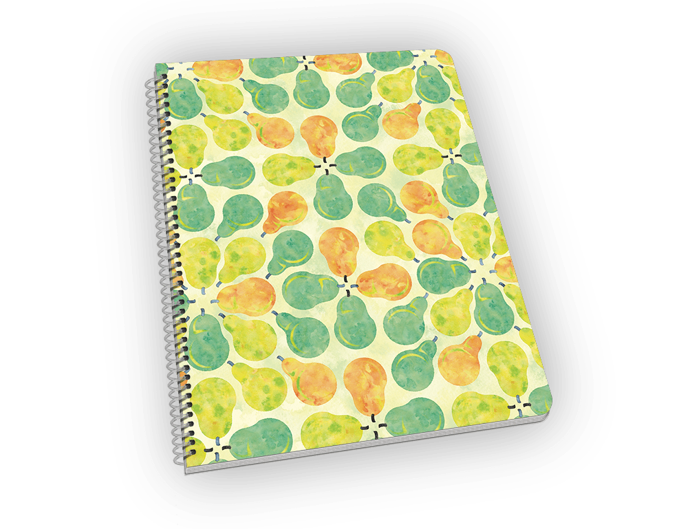 Spiral-bound notebook with pears on the cover.