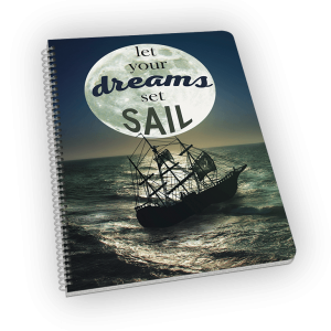 Spiral-bound notebook with moon and ship cover.