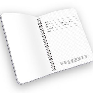 Open spiral-bound notebook with name and ownership page.