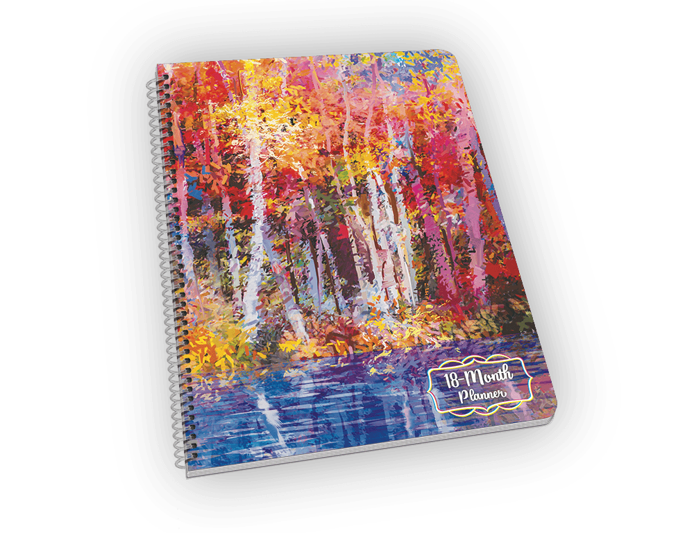 Spiral-bound notebook with forest and water painting.