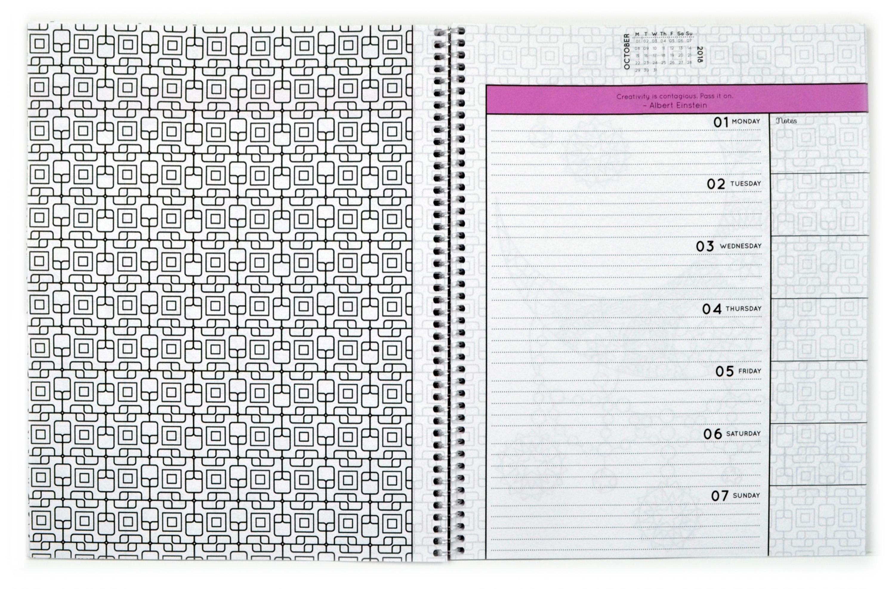 Open spiral-bound coloring planner with a geometric outline page.