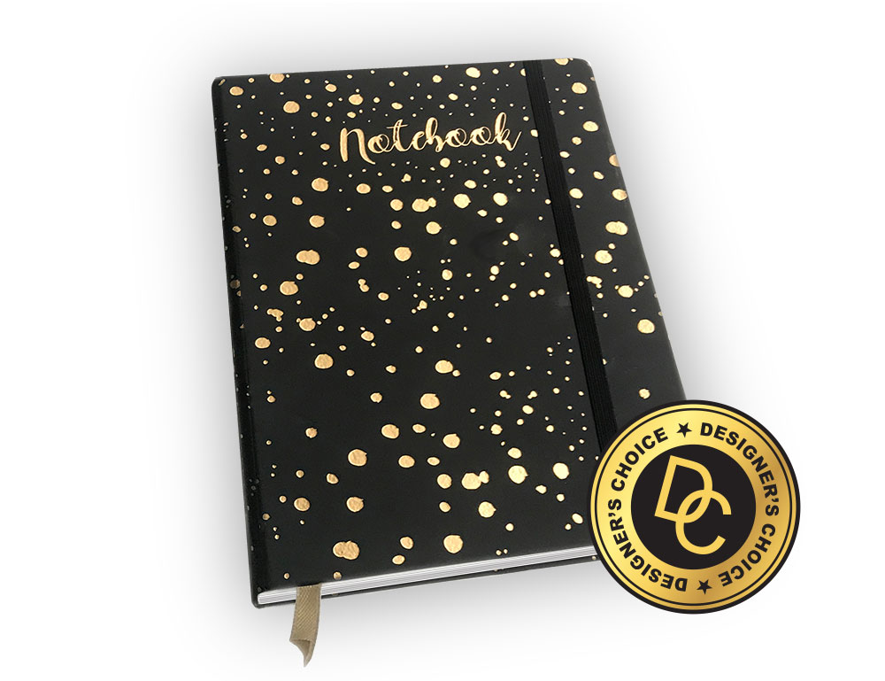 Gold foiled leather notebook with strap.