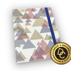 Gold trimmed notebook geometric design and strap.