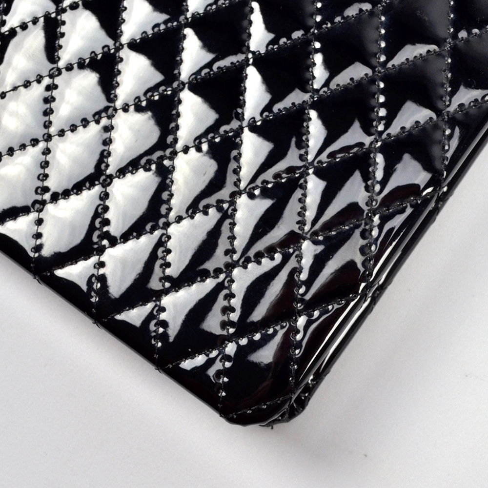 Close up of quilted leather journal.