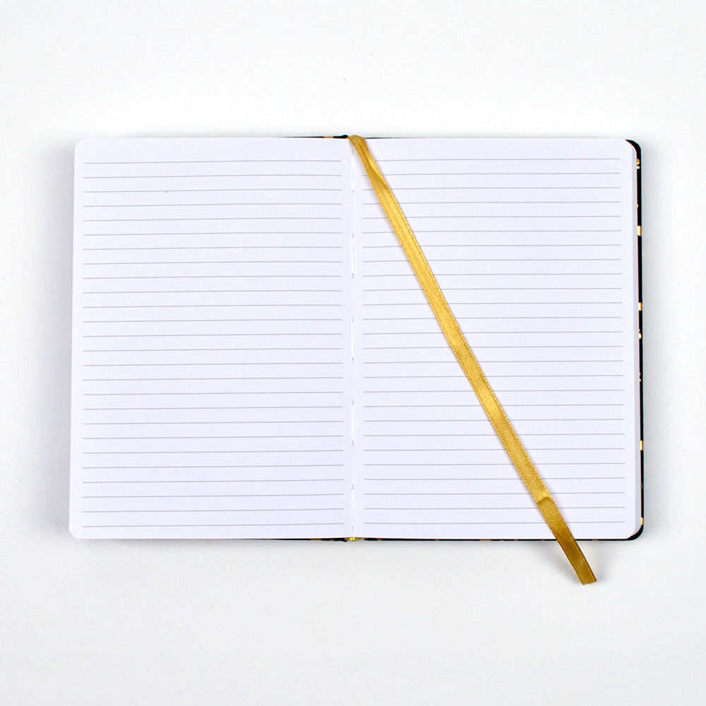 Open notebook with lined pages and ribbon.
