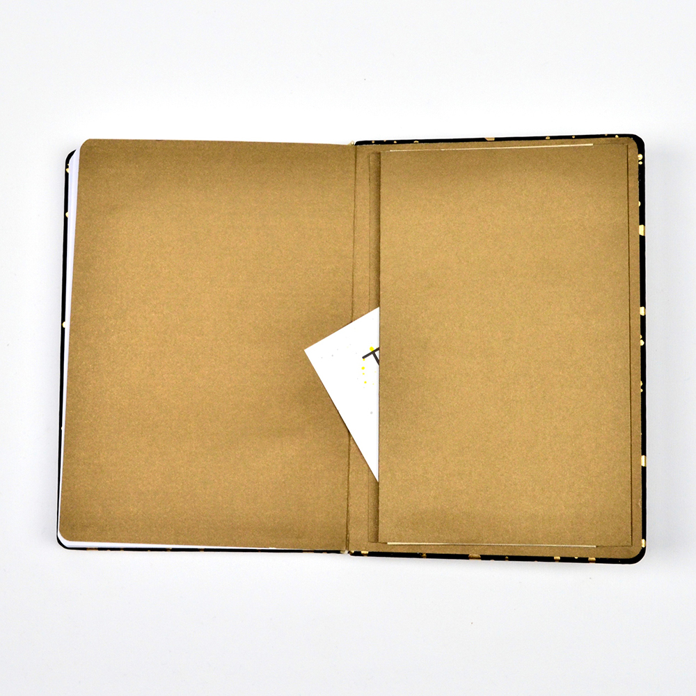 Open notebook with pocket.