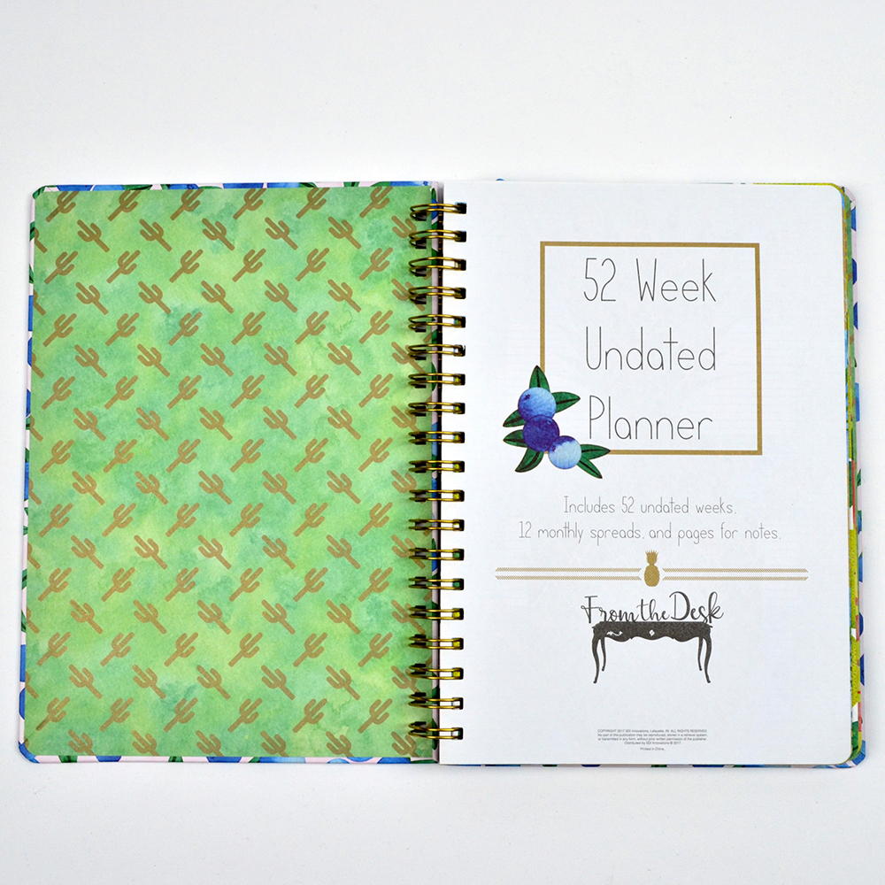 Open spread in spiral-bound planner with cacti pattern and title page.