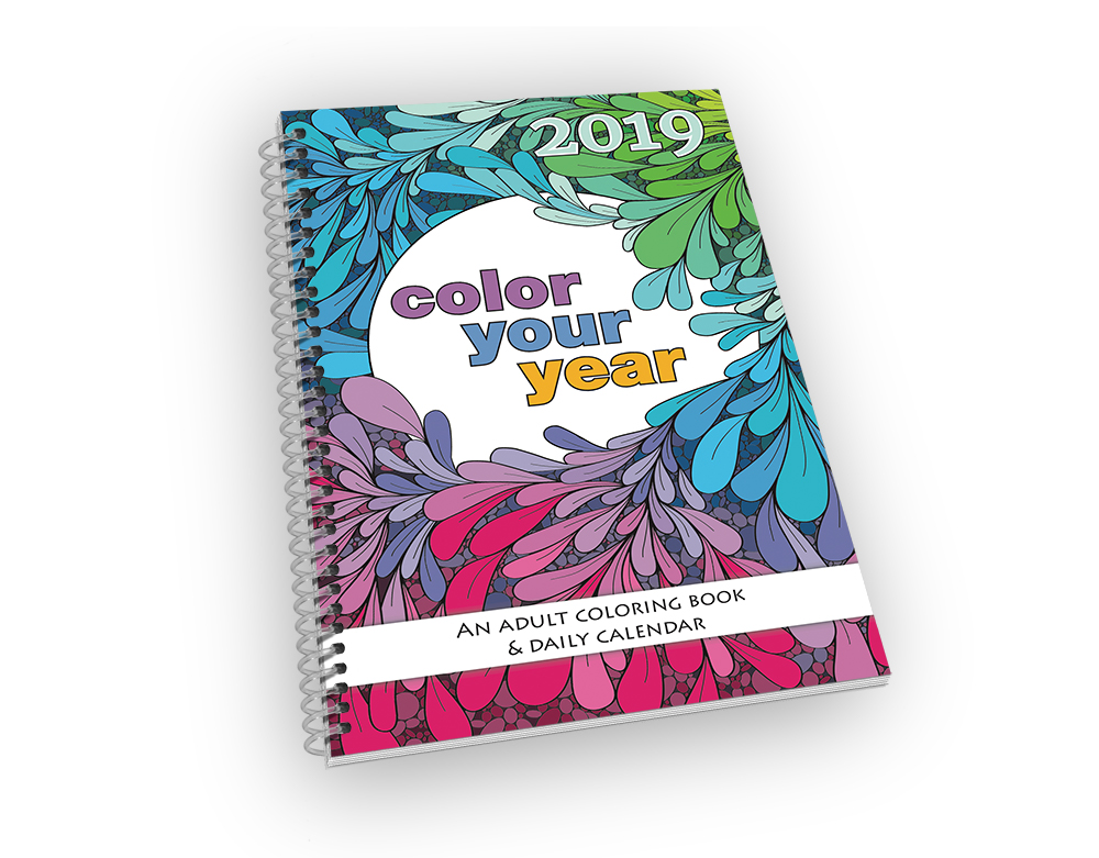 Small spiral-bound coloring book and calendar.