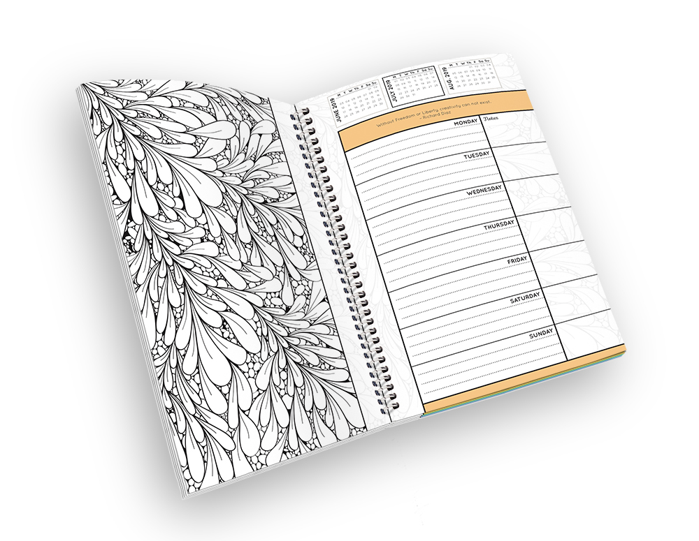 Open spiral-bound coloring planner with a leaf outline page.