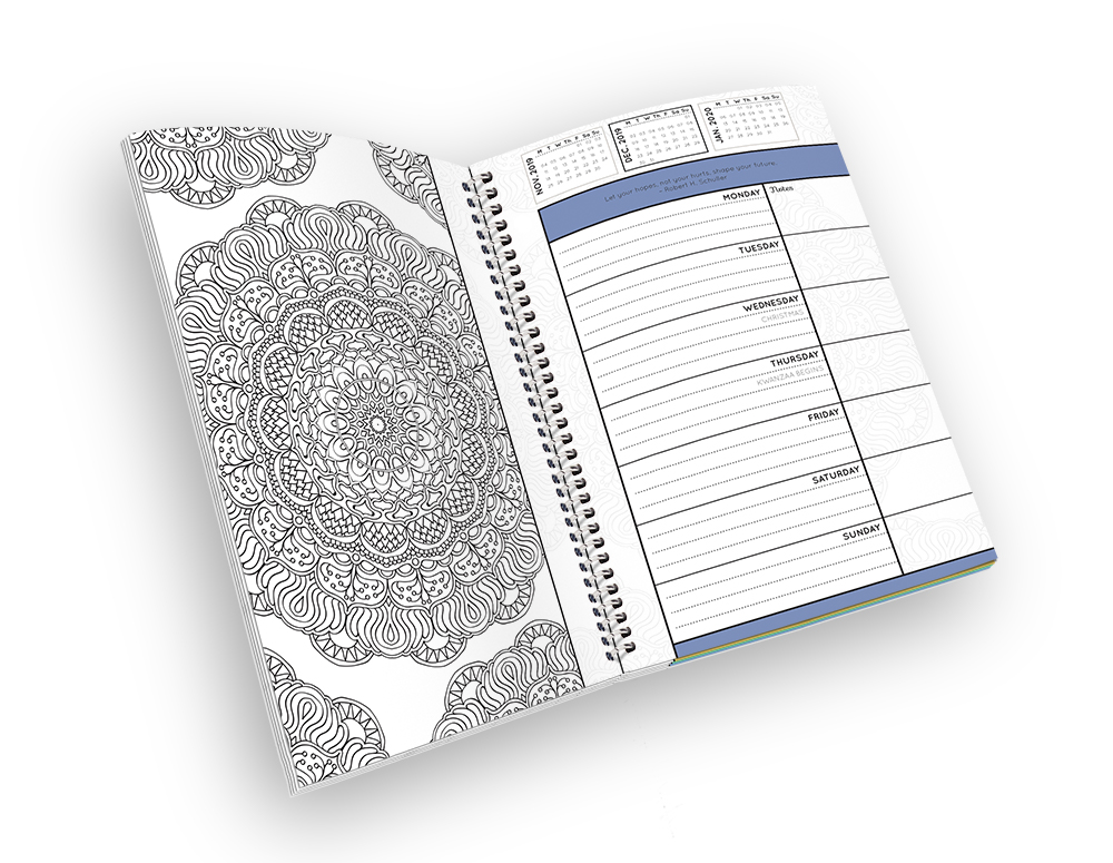 Open spiral-bound coloring planner with a mandala outline page.