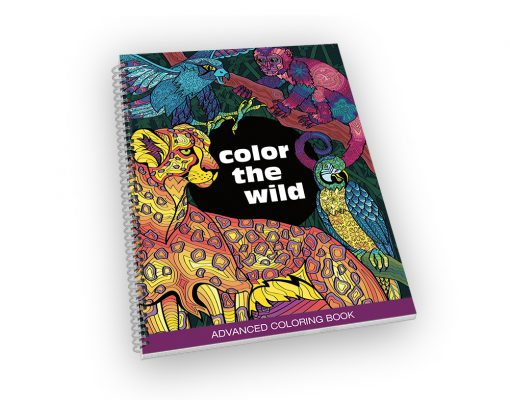 Spiral-bound coloring book with a jungle animal cover.