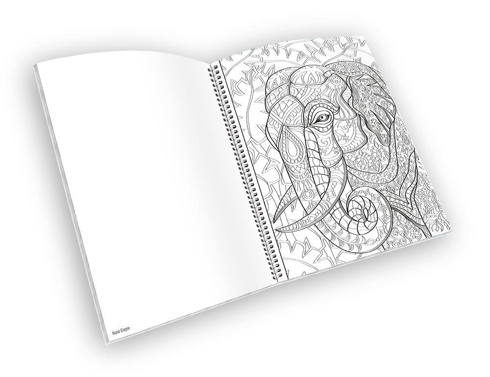Open spiral-bound coloring book with a elephant outline.