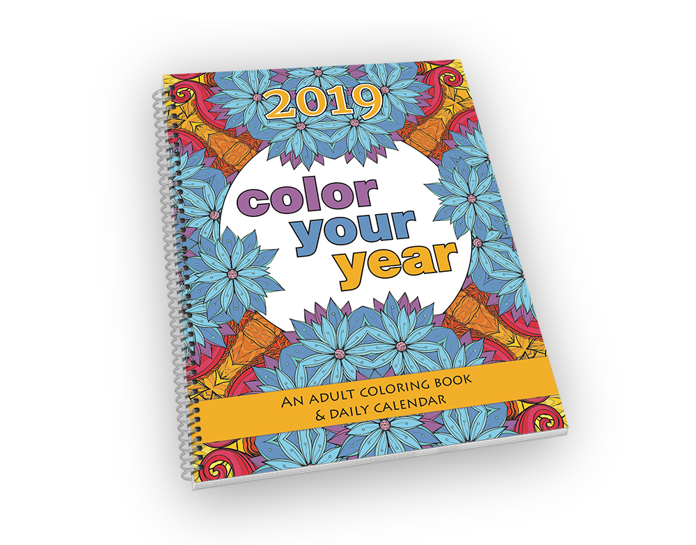 Big spiral-bound coloring book and calendar.